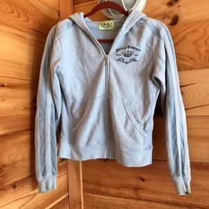 BABY BLUE ZIP JUICY COUTURE Y2K HOODIE SWEATSHIRT